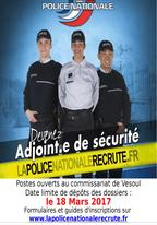 Recrutement adjoint(e) de sécurité - Police nationale